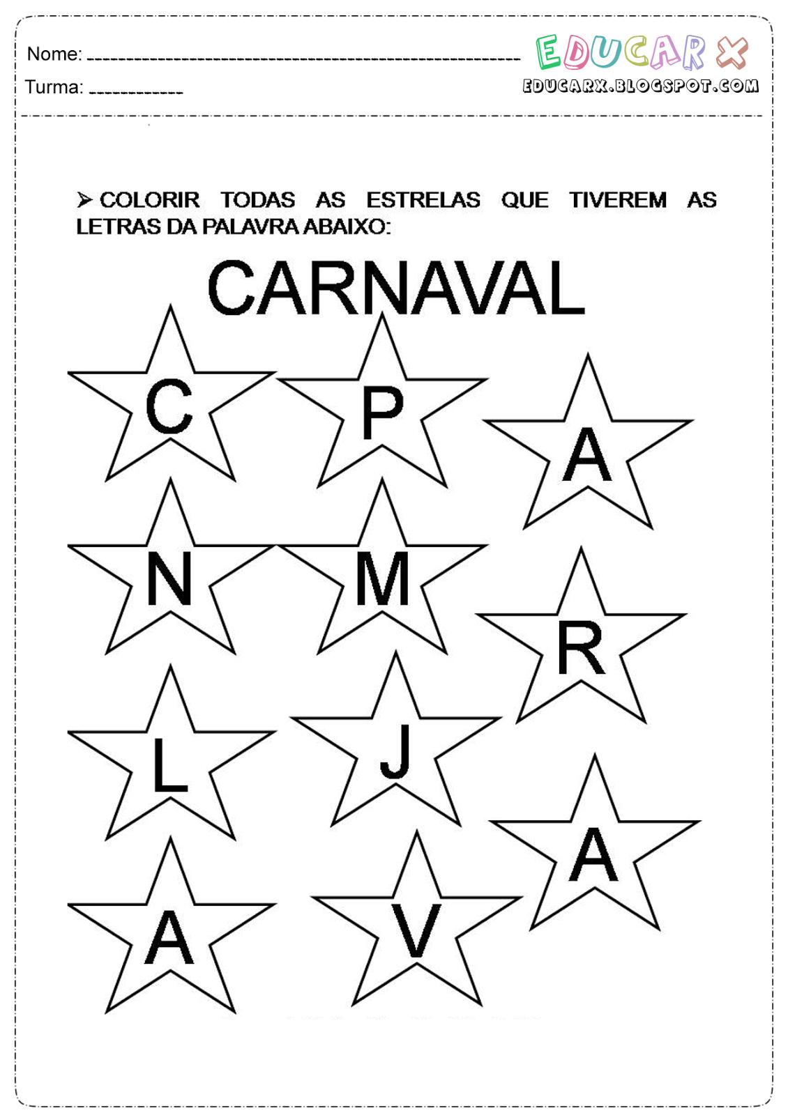 Atividades sobre o carnaval para educação infantil