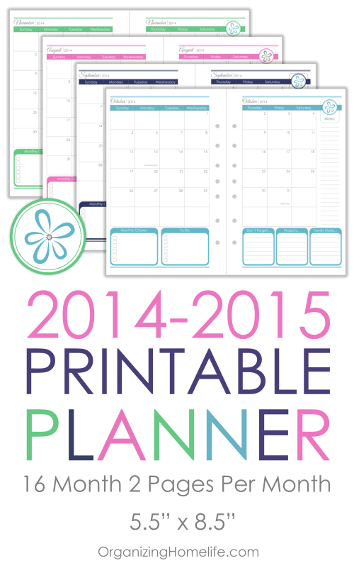 Monthly Organizing Calendar : Planner giveaway from overwhelmed to organized