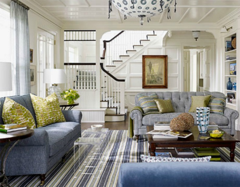 Blue and white Coastal Living Room with an evolved style