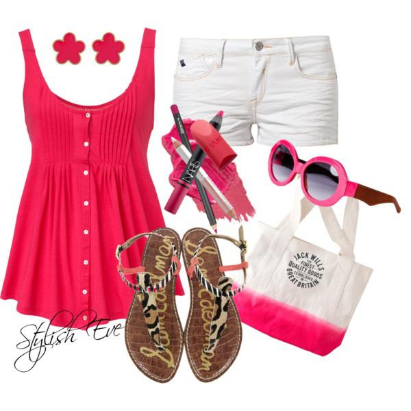 Pink blouse, white skirt, sandals, sunglasses and handbag for ladies