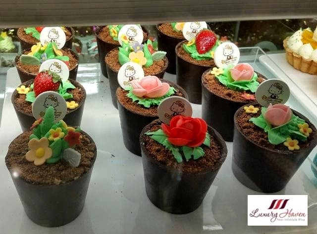 le petite cafe hello kitty potted plant desserts