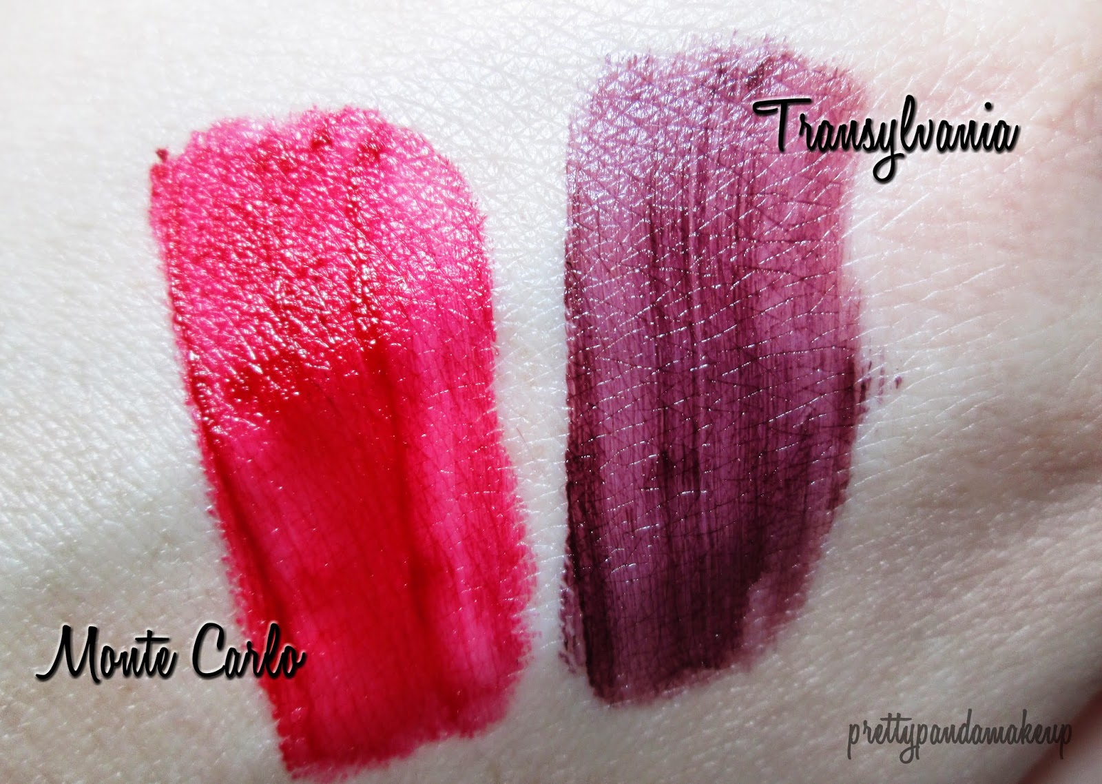 NYX soft matte lip cream in Transylvania and Monte Carlo swatches and review