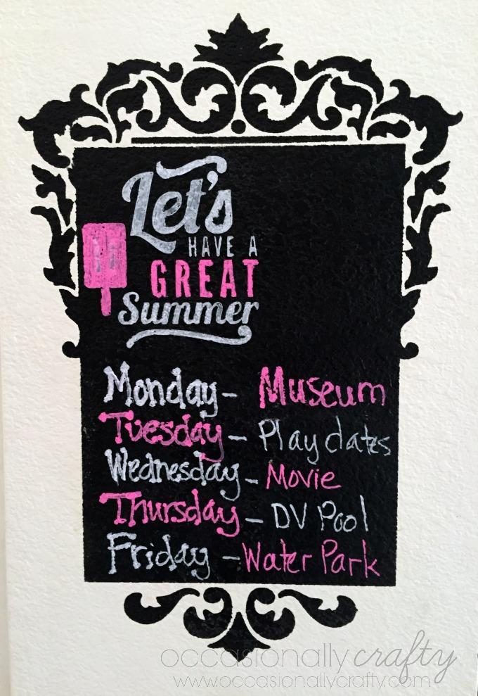 Chalkboard Summer Schedule