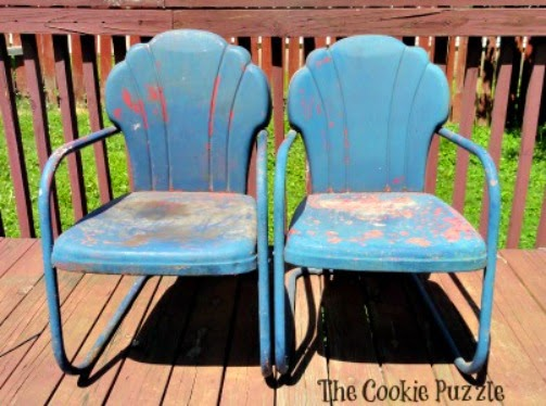 The Cookie Puzzle Painting Metal Chairs With Chalk Paint
