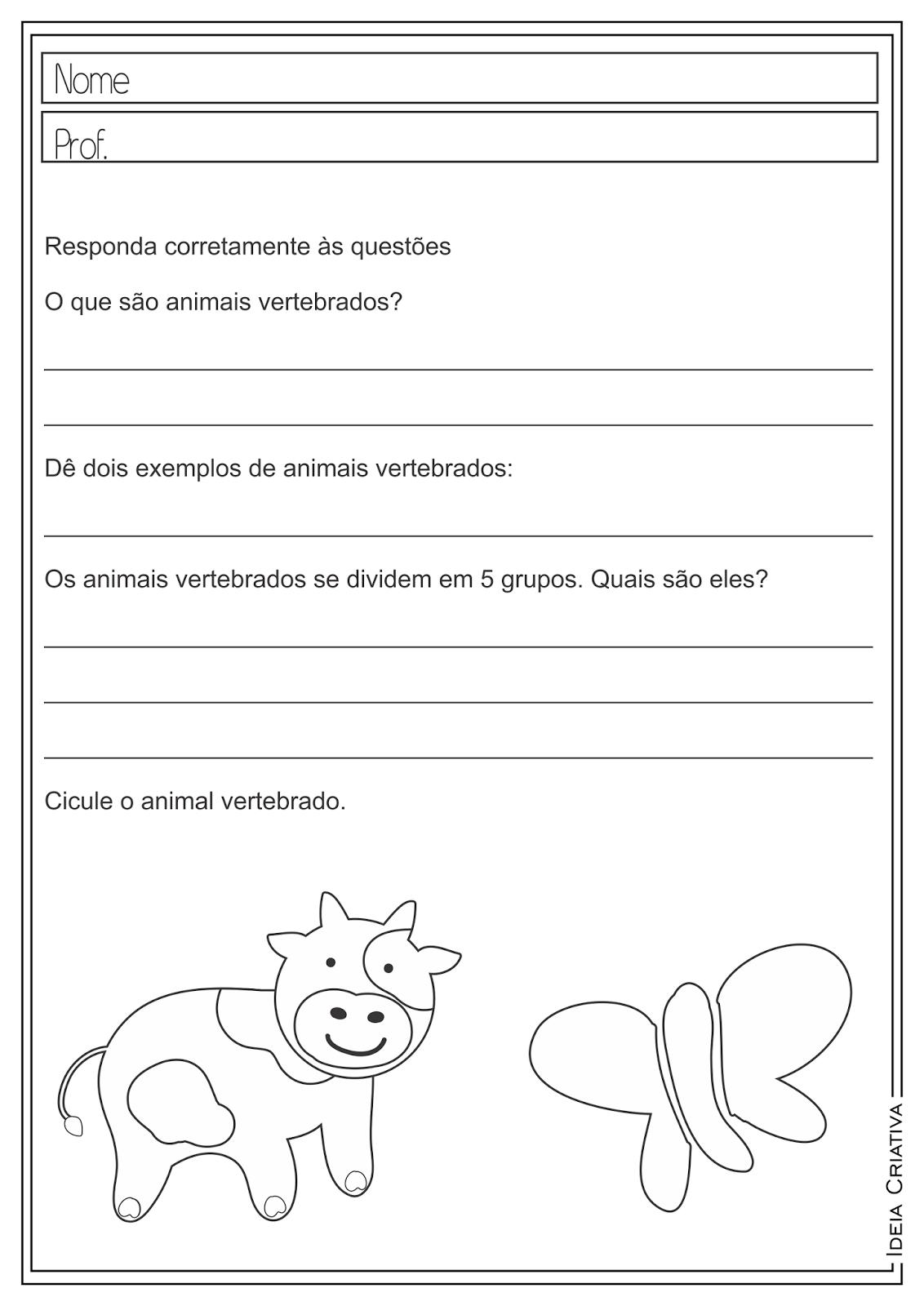 Atividades Educativas Ciências Animais Vertebrados para Ensino Fundamental