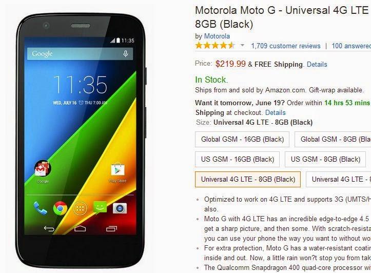 Motorola Moto G 4G LTE-Enabled Smartphone