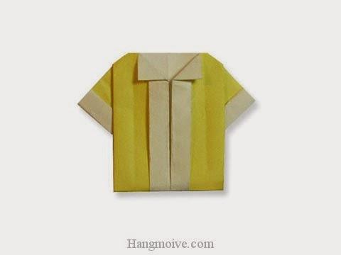 Cách gấp, xếp áo sơ mi cộc tay bằng giấy origami - Video hướng dẫn xếp hình quần áo - How to fold a Short-sleeved shirts