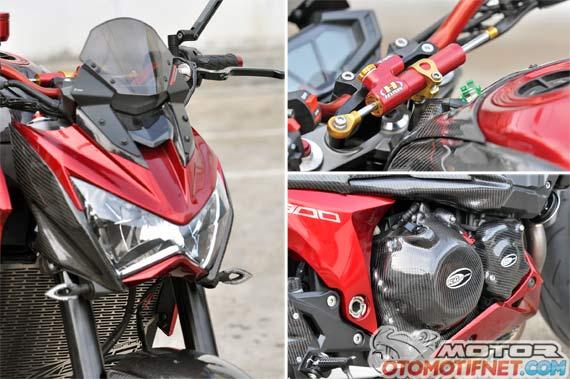 Modifikasi Kawasaki Z800 Si Merah Bening