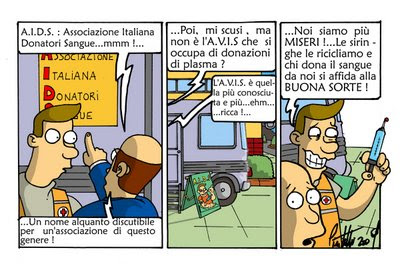 AIDS AVIS siringa donazione sangue virus HIV vignetta fumetto cartoon