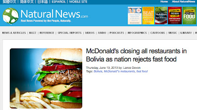 Natural News:  McDonalds is Rejected in Bolivia