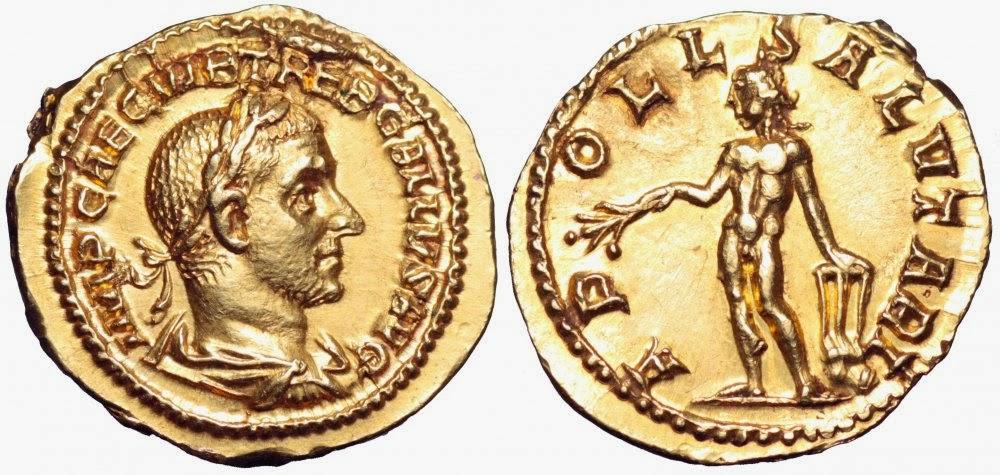 El binio (doble áureo) del emperador Treboniano Galo Binio+Treboniano+Galo