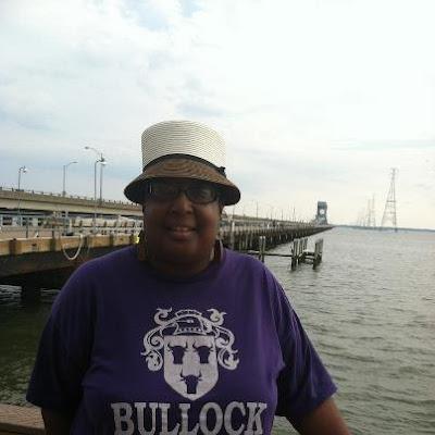 Dru at James River wearing hat
