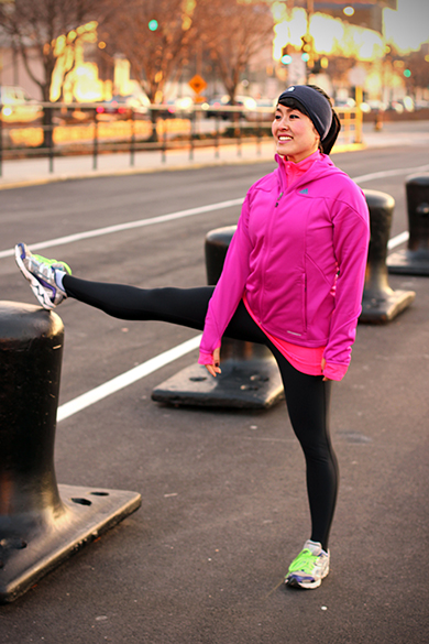 Adidas Fuchsia Climawarm Jacket with Black Under Armour Women's Coldgear Compression Leggings