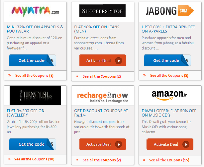 Coupon Codes India 2014