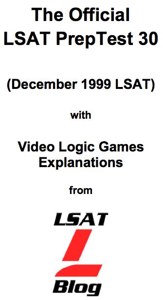 LSAT Blog PrepTest 30 December 1999 LSAT PDF