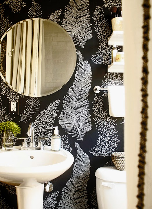 black + white bathroom wallpaper