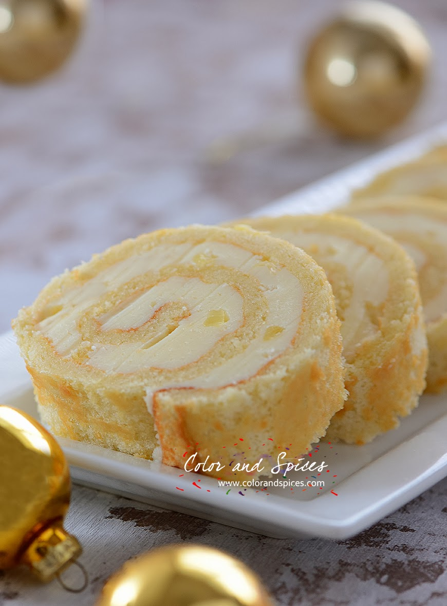 Color And Spices Swiss Roll With Pineapple Butter Cream Filling