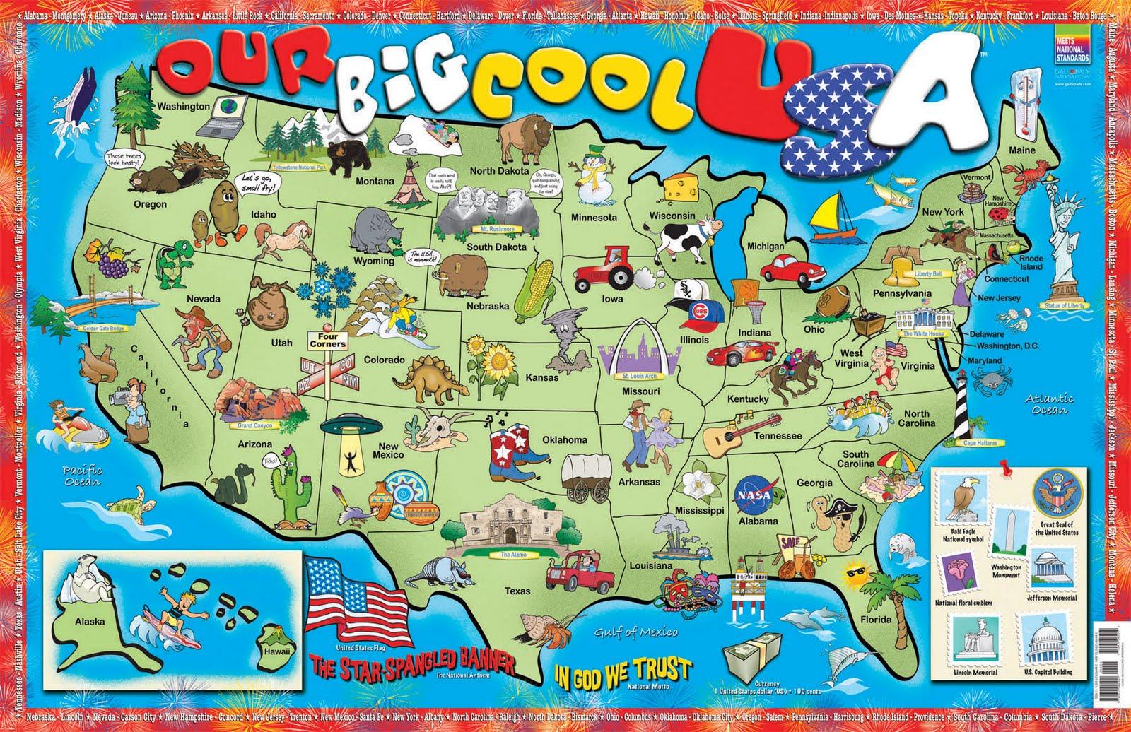 BILINGUAL ALYUSSANA Octubre - Usa map and landmarks