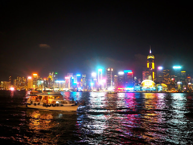 A Symphony of Lights | view of Hong Kong island and Victoria Harbour from TST promenade at night