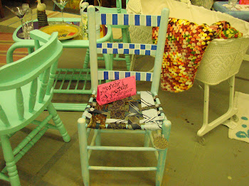 This cute chair I painted and sewed the vintage necktiez for the set
