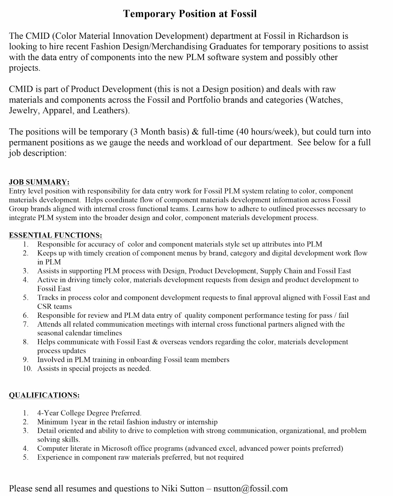 fashion design blog temporary position at fossil