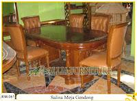 Kursi dan Meja Makan Ukiran Kayu Jati Salina Meja Gendong