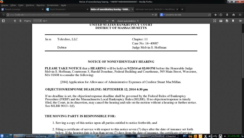 Caso TelexFREE: Nova Audiencia dia 23/09/2014