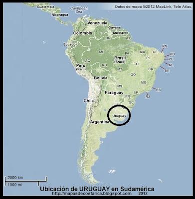 Mapa de Relieve. Ubicación de URUGUAY en Sudamérica