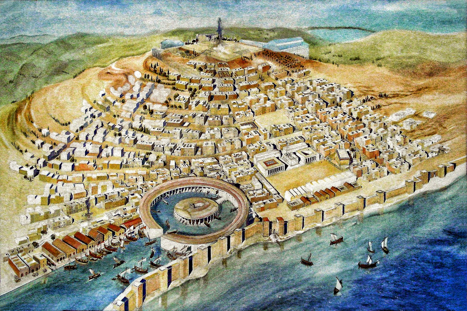 A painting of the intricate harbor and ancient city of ...