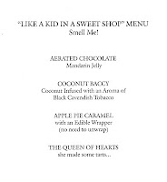 The Fat Duck 'Like a Kid in a Sweet Shop' menu 2010