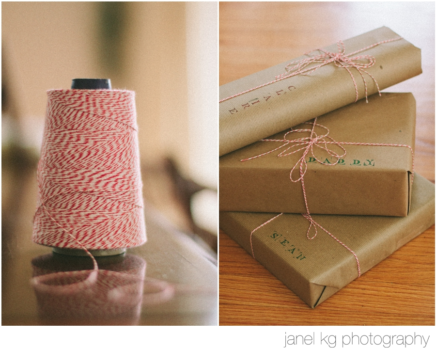red bakers twine and stamps give a homespun feel to this year's gift wrap!
