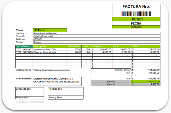Informatica decimo abc febrero 2012 for Diseno de facturas