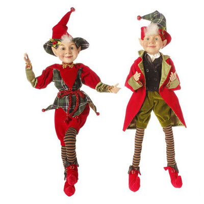 http://www.trendytree.com/raz-christmas-and-halloween-decor/raz-22-posable-red-green-elf-christmas-decoration-set-of-2.html