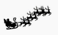 Christmas clip art Santa with sleigh and 8 reindeer