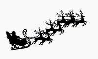 Christmas clip art Santa with sleigh and 8 reindeer