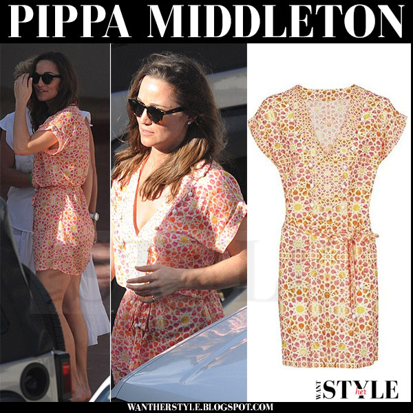 Pippa Middleton in orange printed belted mini dress biondi what she wore