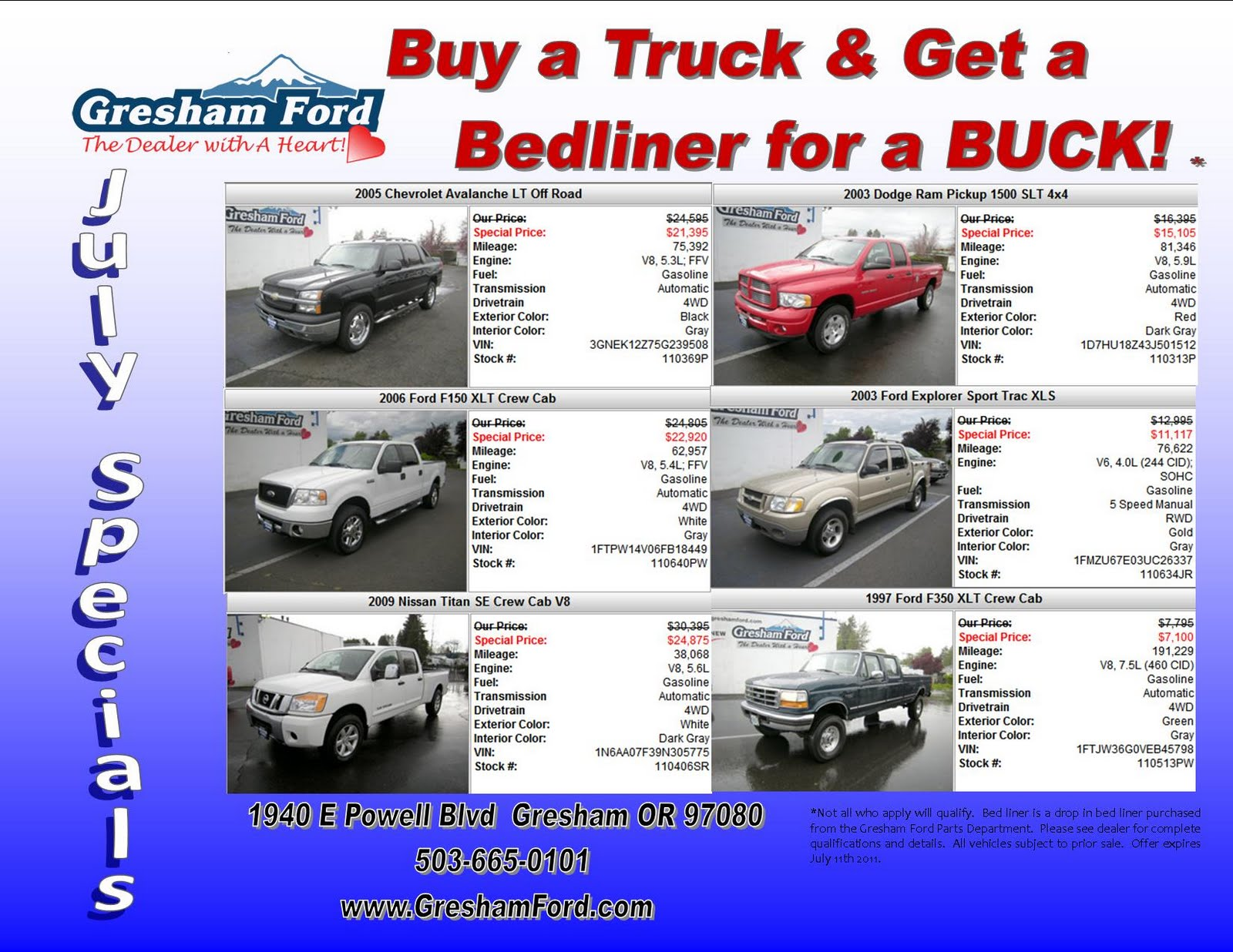 Gresham Ford Your Oregon Ford Dealership Truck Specials At