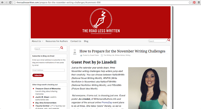 Preparing for the November Challenges @JoLinsdell #NaNoWriMo #WNFIN #PiBoIdMo