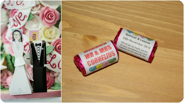 wedding place names and favours - bride and groom holders with photo of guest and personalised love hearts