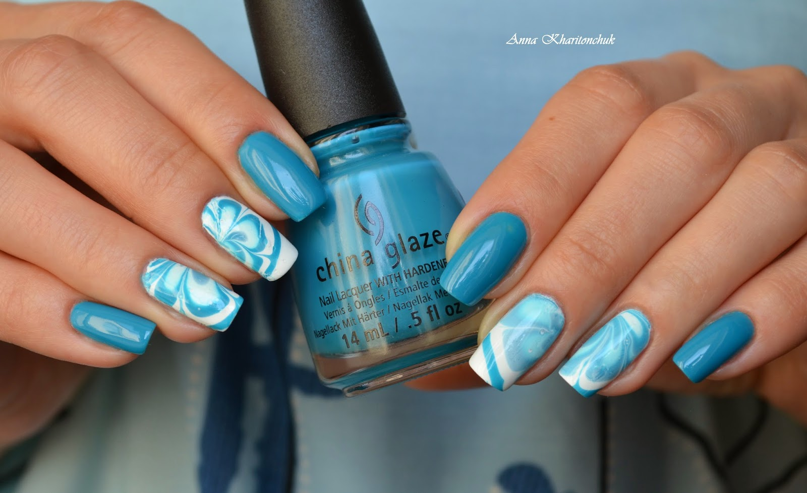 "Конкурсный маникюр ""Я мечтаю о...."", China Glaze Wait N'Sea, стемпинг, водный дизайн"