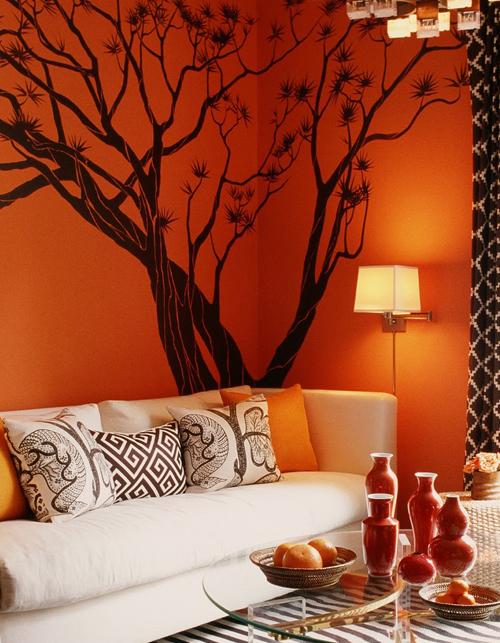 10 salas en color naranja colores en casa - Pared naranja combina con ...
