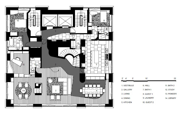 Floor plan of upper floor in the duplex