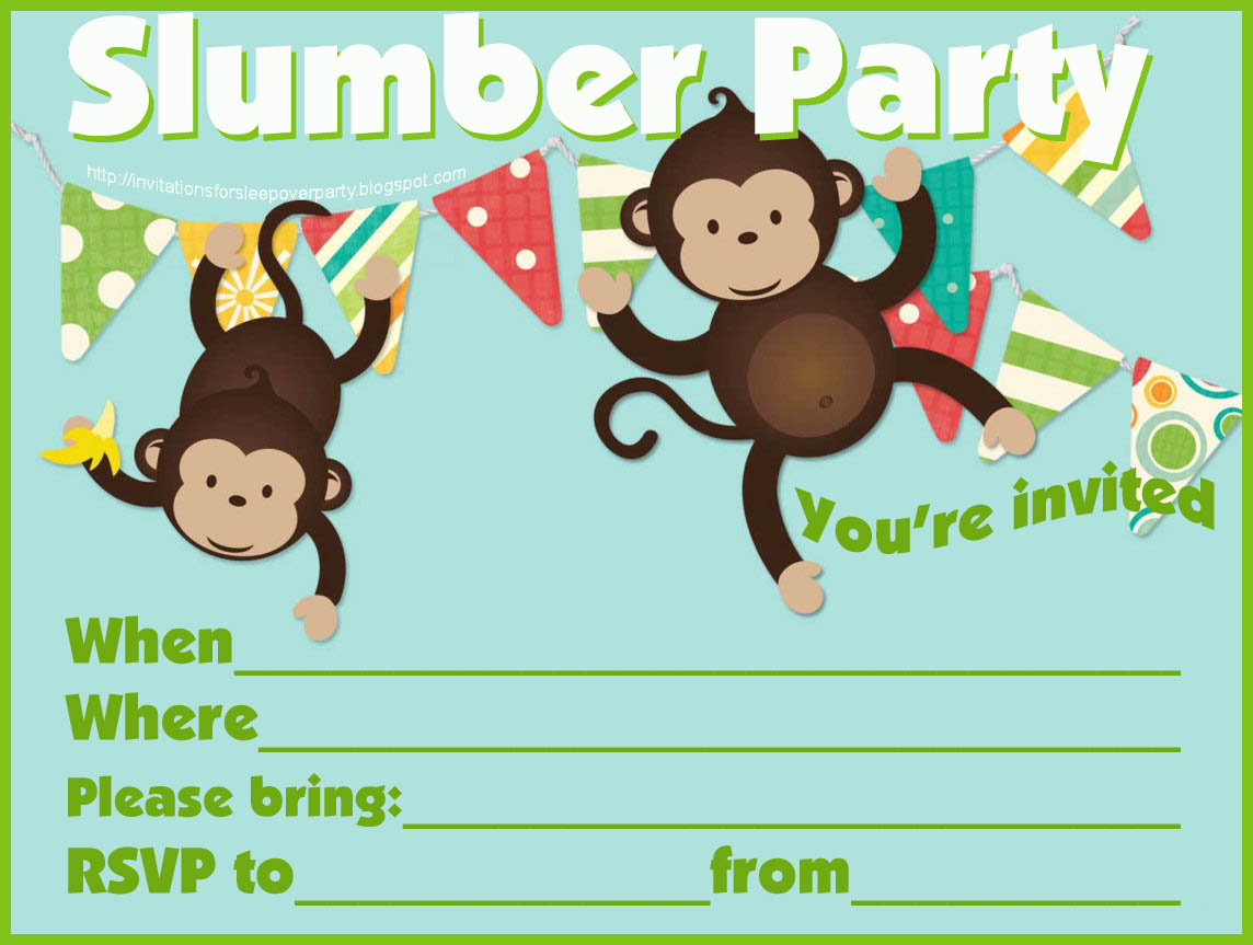 Blank Sleepover Invitations Printable blank party cake