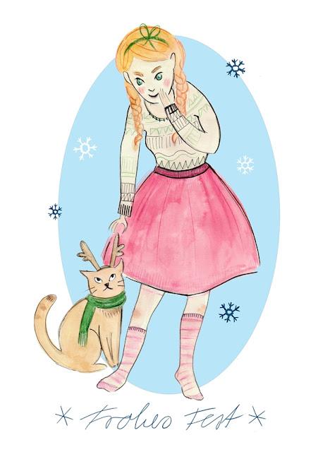 Illustration für Weihnachtskarte Mädchen mit Katze