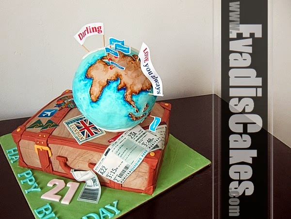 Picture of globe with luggage bag cake
