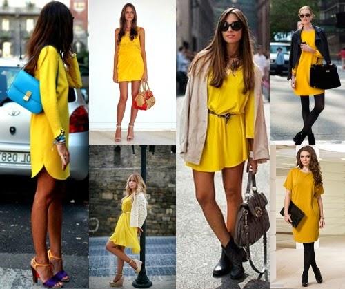 Желтое платье с чем одеть