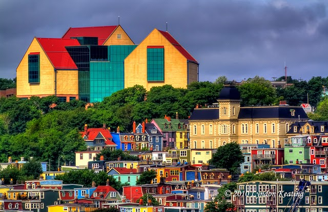 The Rooms Museum overlooking the colourful city of St. John's Newfoundland