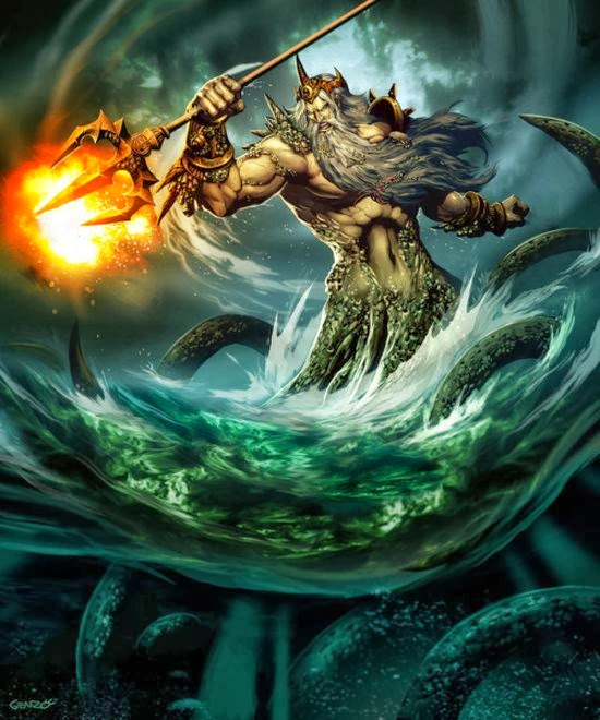 Gonzalo Ordóñez Arias genzoman deviantart illustrations fantasy games monsters mythology gods Poseidon