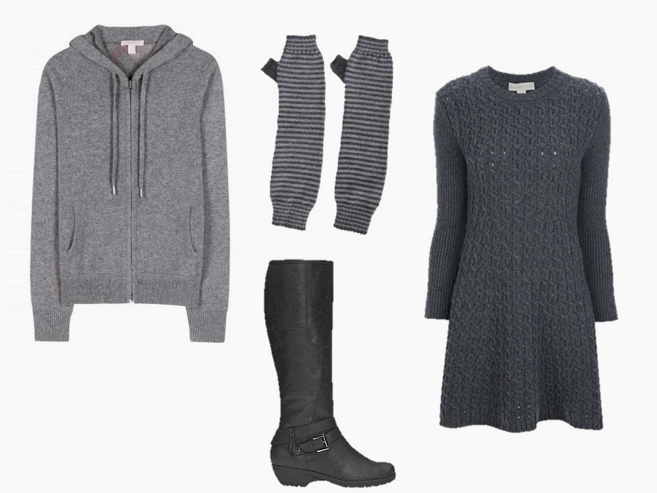 a grey hooded cashmere sweatshirt worn over a grey sweater dress, with fingerless gloves