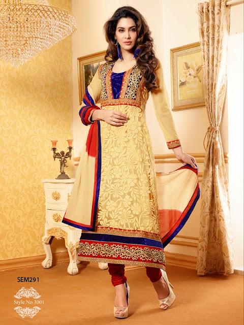 Buy Online Net Brasso Churidar Style Salwar Kameez